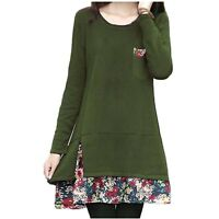 Green Mini One Piece Top Ladies summer Long Sleeve Cotton tunic Dress size 14