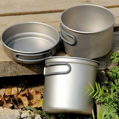 Health Titanium Pot Camping BBQ Picnic Cookware Set 400ml+800ml+1.2L/295g