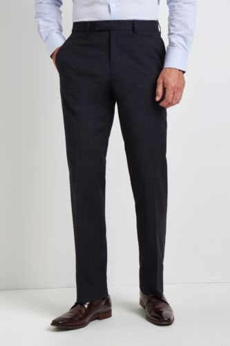 Moss Esquire Mens Trousers Regular Fit Navy Plain Formal Pants with Stretch