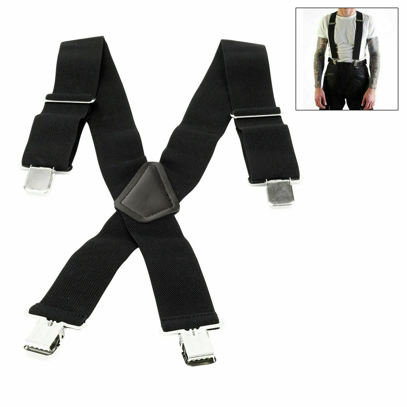 Motorcycle Motorbike Blike Rider Heavy Duty Elasticated Braces For Trousers Pant