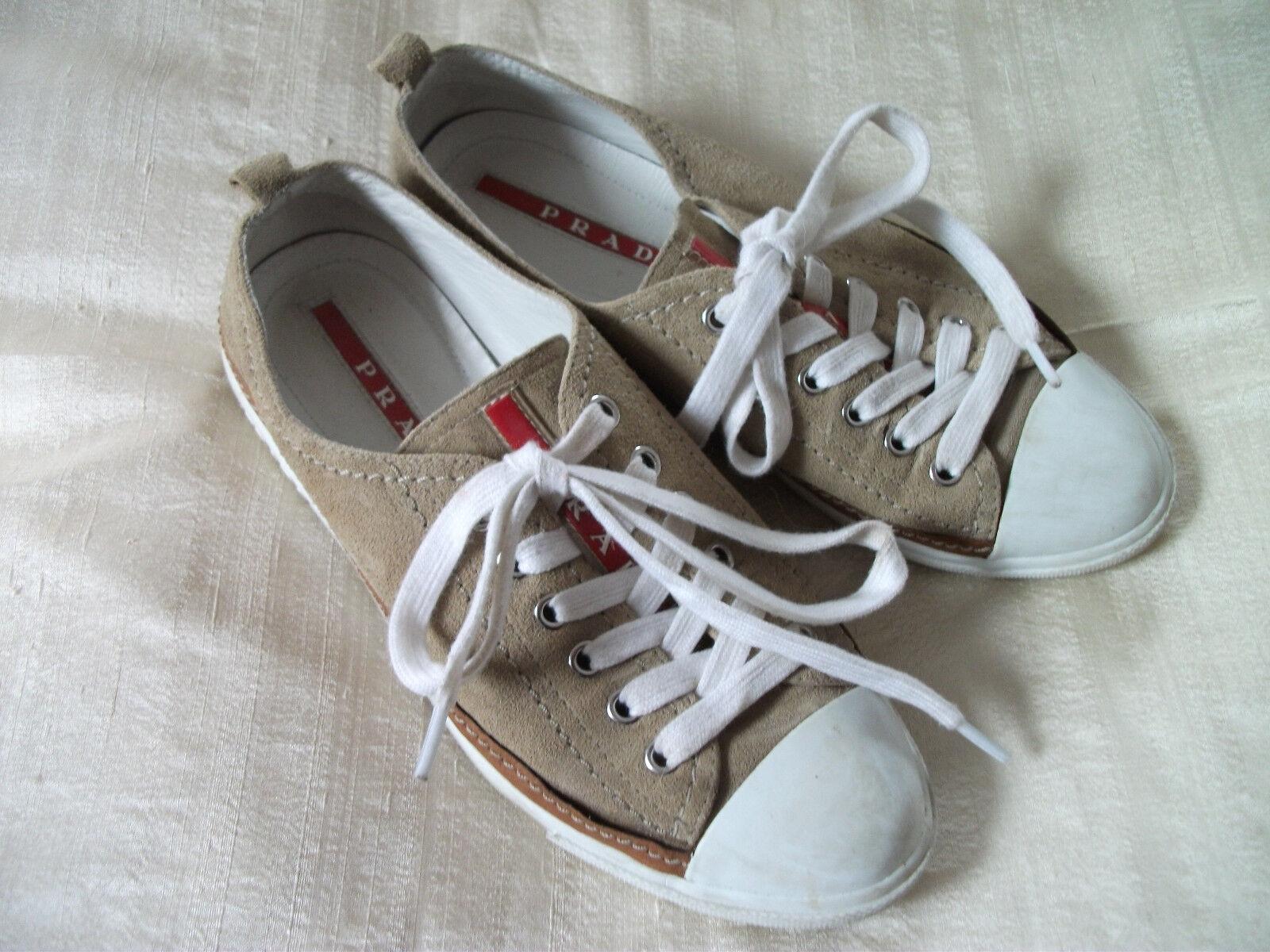 Orig.PRADA Orig.PRADA Orig.PRADA - sportliche,exclusive Leder-Sneaker (Materialmix) Gr. 37 neuw. 23af5a