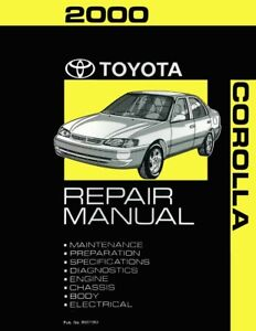 Image Is Loading 2000 Toyota Corolla Service Repair Manual Book