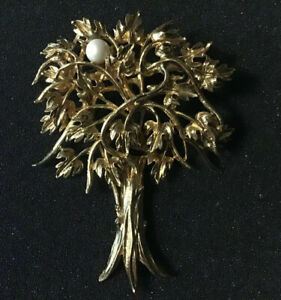 Vintage-Tree-Of-Life-Gold-Tone-Brooch-Pearl-Pin-Leaves