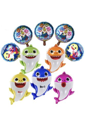 Shark Foil Cute 10pcs Family Balloons Kids Birthday Party Decorations.