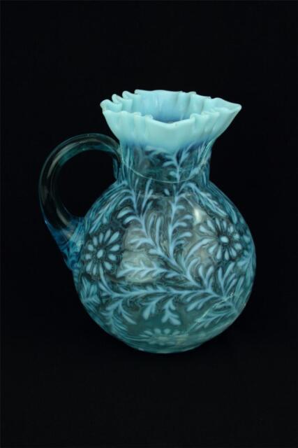 "Vintage Fenton Opalescent Glass Blue Daisy & Fern Pitcher 9""  Cracked Damaged"