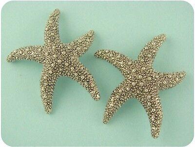 Beads Starfish Ocean Life Animal Beach Lagoon Sand ~Silver Metal ~2 Holes QTY 2