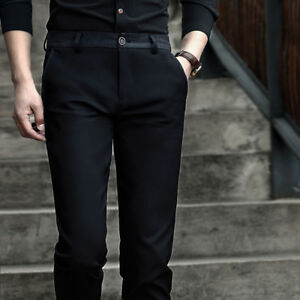 Mens Casual Trousers Anti Crease Office Slim Fit Elasticity Pant