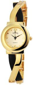 Damenuhr-Gold-Schwarz-Analog-Metall-Leder-Armbanduhr-Mode-Uhr-D-100404200070500