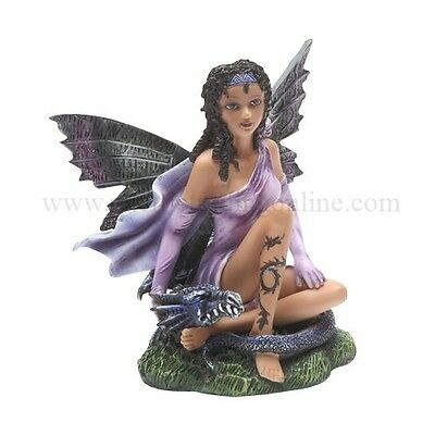 MEADOW LEGENDS COLLECTION AFRICAN FAIRY WITH BLACK DRAGON FIGURINE STATUE DECOR