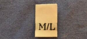 50Pcs White Taffeta Woven Clothing Letter Size Tab Tag Label L//XL LARGE