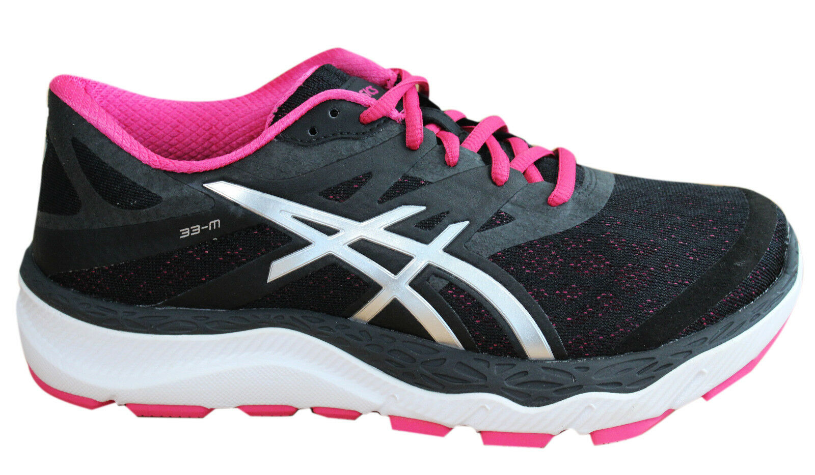 Asics 33-M Damenschuhe Trainers Lace Up Schuhes Textile Pink Silver T588N 9993 D136