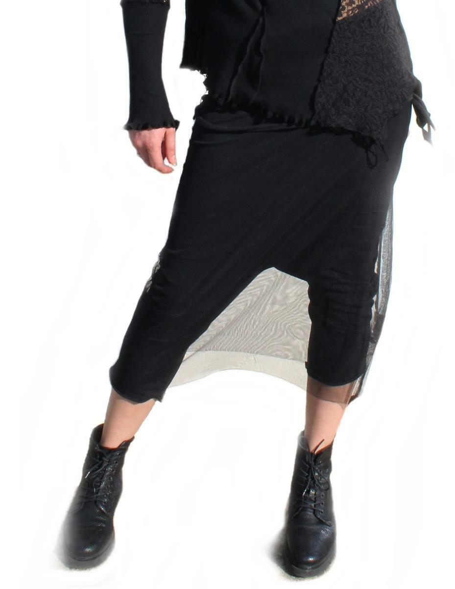 Ladies Sweatpants with Tulle Sarouel Pants Layer Look Baggy Trousers V Kei