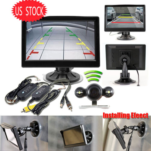 Wireless Backup Camera Parking System Car Auto 5 inch Monitor Suction Cup/Dash