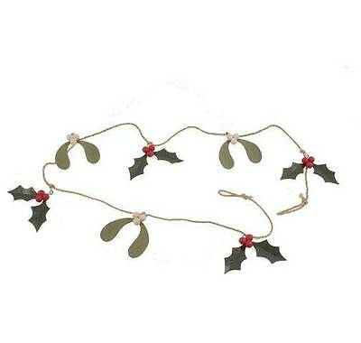 Shoeless Joe Mistletoe and Holly Garland - Christmas Decoration - Rustic Garland