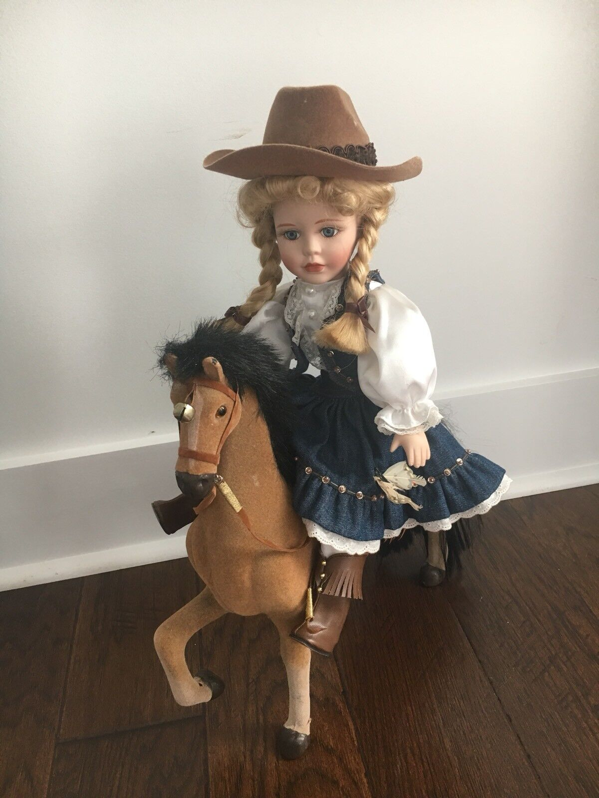 Butterfly Kisses Precious Collection Porcelain Cowgirl Doll And Horse