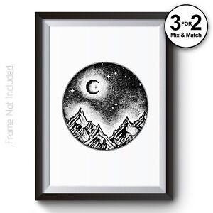 Moon Wall Art Print 100/% Cotton Wildlife Nature Landscape Black /& White Poster