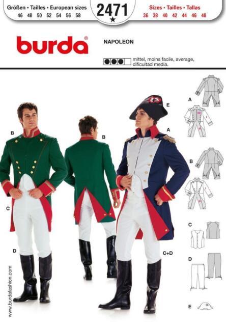 Burda Sewing Pattern 2471 Mens Napoleon Costumes Sizes 36-48 | eBay