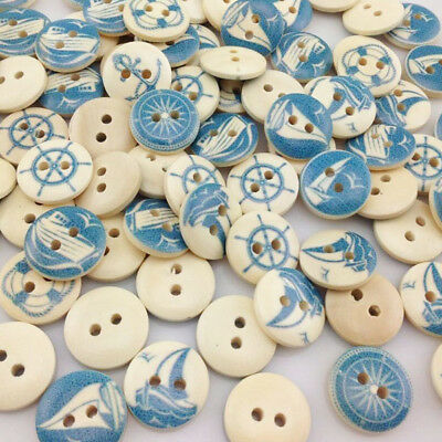 10/50/100pcs Mixed Blue Wooden Buttons Fit Sewing and Scrapbook 15.0mm W217