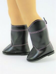 """BLACK Suede /& Furry Buckle DOLL BOOTS SHOES fits 18/"""" AMERICAN GIRL Doll Clothes"""