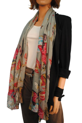 SHAWL 4 COLOURS     P4 PASHMINA LADIES EXTRA LARGE BUTTERFLY PRINT SCARF