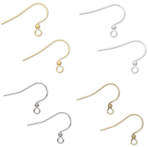 100 Earring Ear Hook Finding with Ball Gold Silver Gunmetal or Antique Gold 17MM