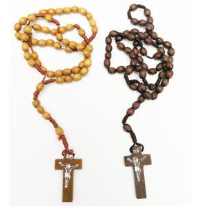 Collana-Rosario-Legno-Nero-Perline-Crocifisso-Gesu-Religione-Uomo-Preghiera-Moda