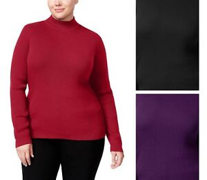 Karen-Scott-Women-039-s-Plus-Size-Ribbed-Mock-Neck-Pullover-Sweater-Select-one