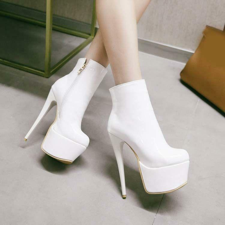 Womens Stiletto High Heels Platform Casual shoes Ankle Boots Patent Leather Boot