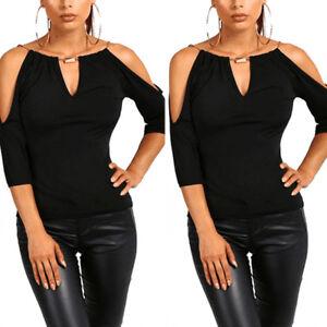 KE-Women-Sexy-T-shirt-Off-Shoulder-Strap-Top-Solid-Color-Slim-Blouse-Deluxe