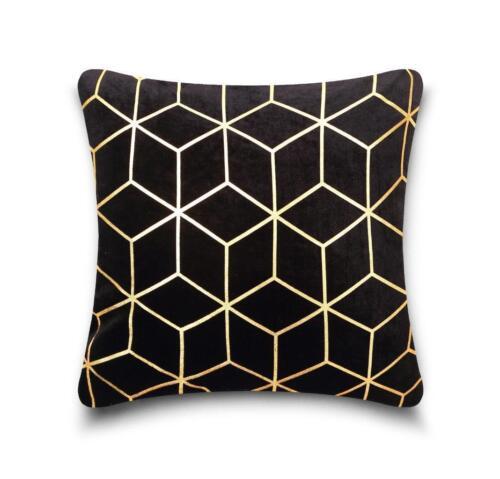 Nouveau élégant Métallique Géométrique Cube Print Microfibre housses de coussin d/'assise