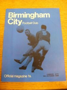 08-10-1968-Birmingham-City-v-Cardiff-City-Faint-Crease-Neat-Team-Changes-Th