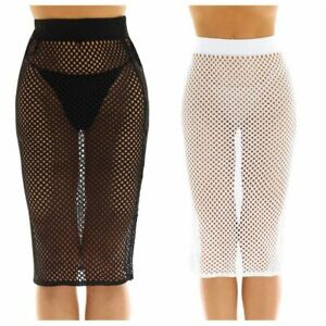 Womens-Bikini-Fishnet-High-Waist-Swim-Skirt-Cover-Up-Short-Beach-Dress-Swimwear