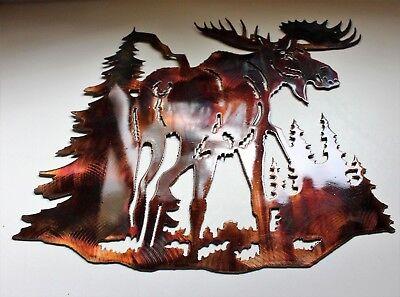 "Water Logged Moose Metal Wall Art 20/"" x 14/"" Polished Steel"