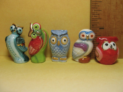 TINY OWLS Barn Owl Hand Painted French Feves Tiny Figurine ...