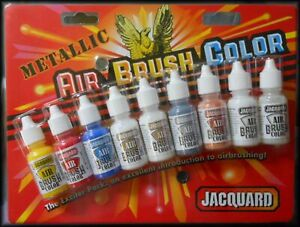 Jacquard-AIR-BRUSH-COLORS-METALLIC-9-Color-Set-Paint-14ml-Fabric-Leather-Wood