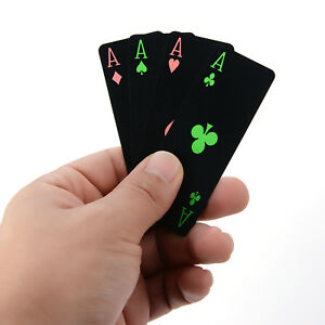 Glow-Black-PVC-Waterproof-Plastic-Poker-Magic-Playing-Cards-Table-Game