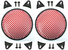 """2X Red 12"""" inch Sub Woofer Speaker Mesh WAFFLE GRILLS Protective Covers VWLTW"""
