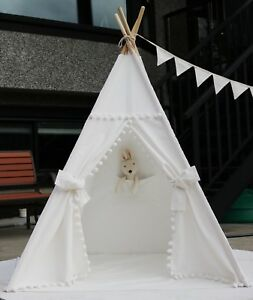 Pompom-Canvas-Teepee-From-Canada-With-Floor-Pocket-LED-Light-Flag-Storage-Bag