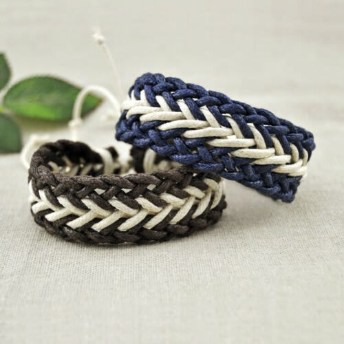Natural cotton Braided Linen Cord Blue or Brown bracelet handmade Unisex