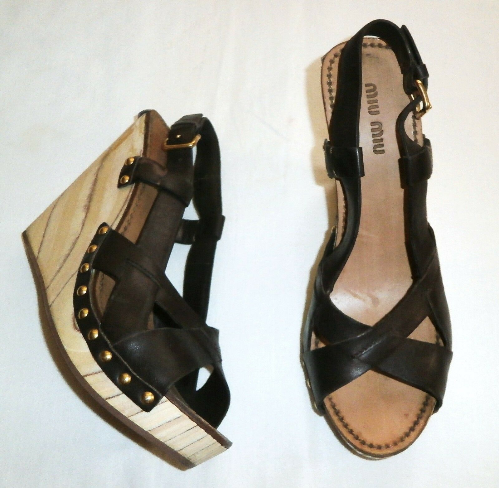 miu miu  Braun Leder Wedge Sandales  US: 6 ; EUR: 36  AUTHENTIC