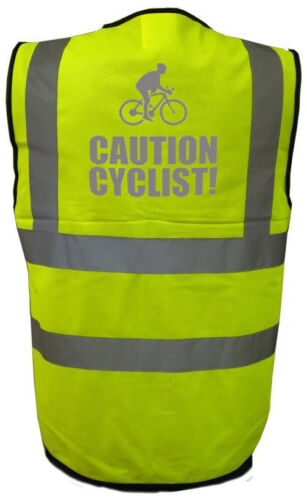 CAUTION CYCLIST Hi Vis Waistcoat Hi Visibility Safety Vest Reflective
