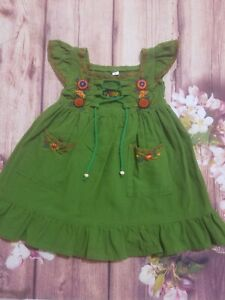 Baby Girl Green Dress Embroidery Size 9 12 Months Ebay