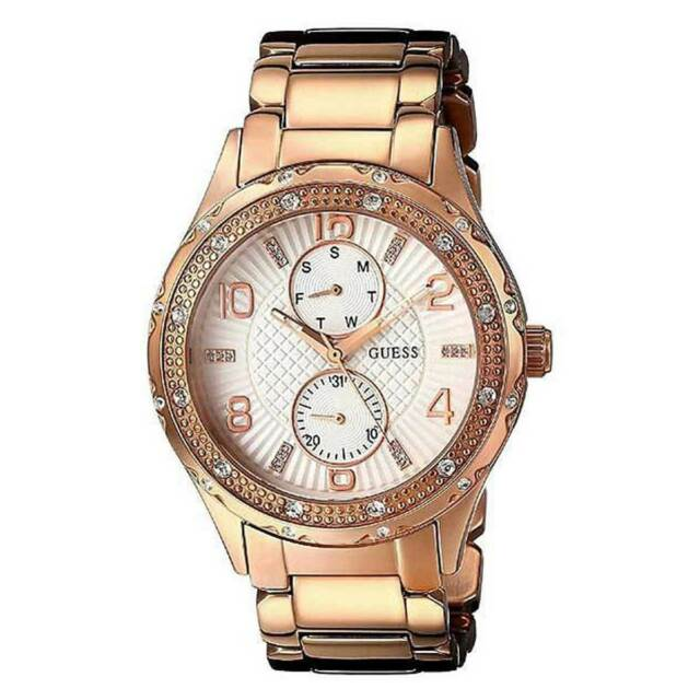 Guess W0442L3 Women's White Dial Rose Gold Bracelet Crystal Watch