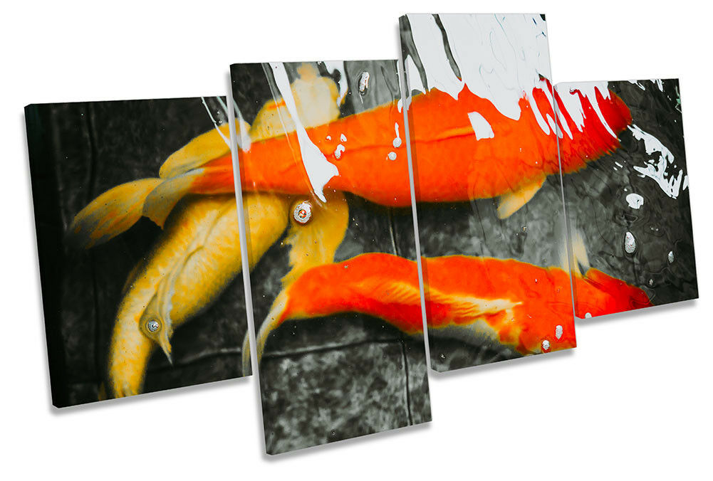 Koi Goldfish Abstract Fish Bild MULTI CANVAS Wand Kunst Drucken