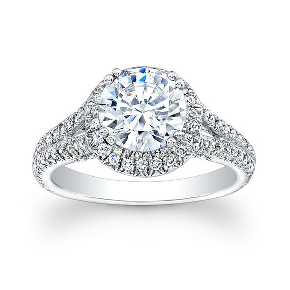 14K Solid White gold 2.20 Ct Round Bridal Diamond Engagement Ring Size 5 6 077