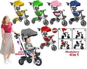 OFFERTA HOMCOM Triciclo con Maniglione Deluxe con Tettuccio Parasole per Bambini