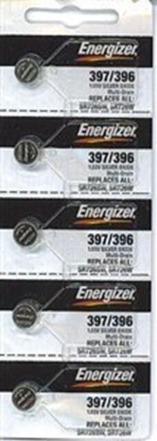 Energizer 397 / 396 (SR726SW, SR726W) Silver Oxide Watch Battery. On Tear Strip