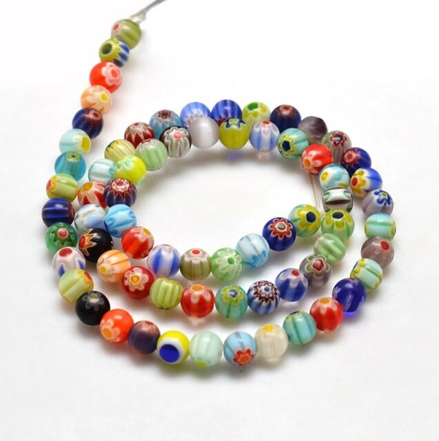 60 beautiful round millefiori colored glass spacer beads 6mm Post from Melbourne