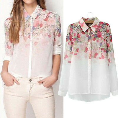 Fashion Ladies Women Chiffon T Shirt Floral Print Long Sleeve Blouse Casual Tops