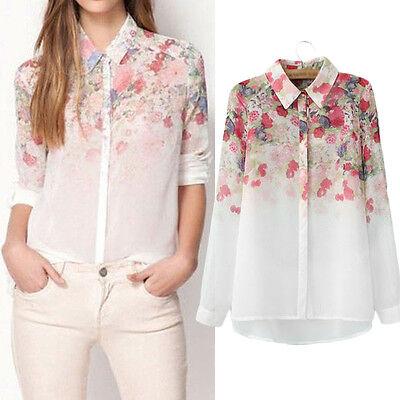 Fashion Ladies Women Chiffon T Shirt Floral Print Long Sleeve Blouse Casual Tops